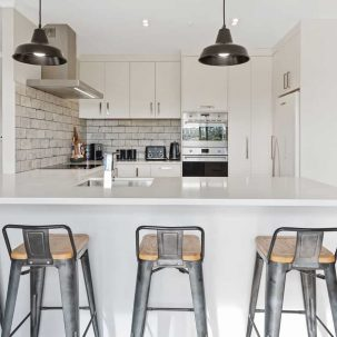 Kitchen wide angle with stools